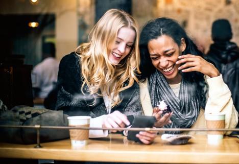 Women Laughing Having Coffee