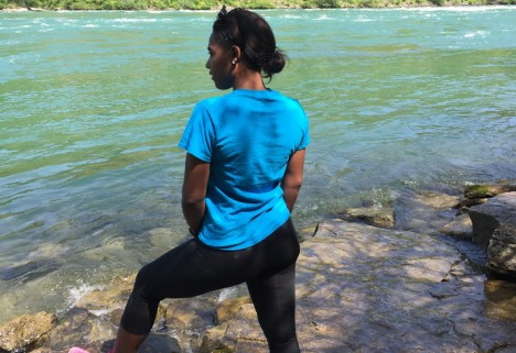 The author, Alexis, working out by a river