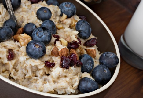 Oatmeal with berrries and nuts is a great morning meal