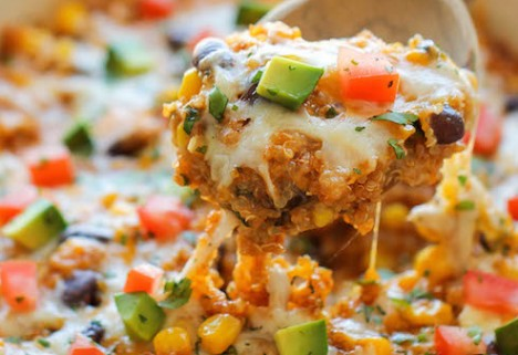 Swap tortillas for quinoa in this cheesy enchilada casserole