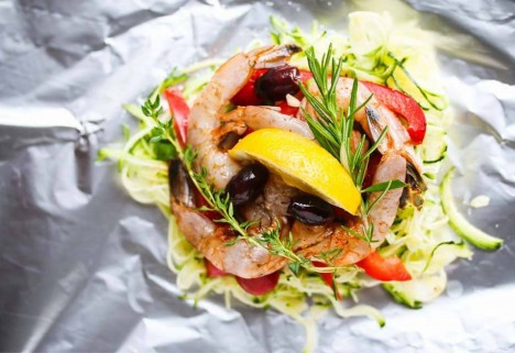 Foil Packet Dinners: Shrimp and Zucchini Noodles