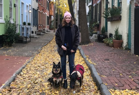 The author, Rosemary, and her dogs on a pretty autumn street