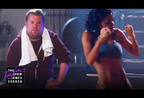"James Corden Spoofs Kanye West's Music Video ""Fade"""