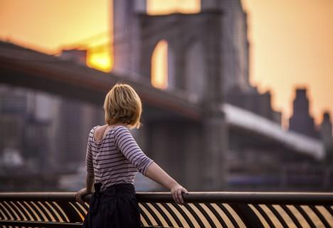 Young Woman and Brooklyn Bridge