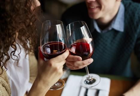Happy Couple Drinking Wine