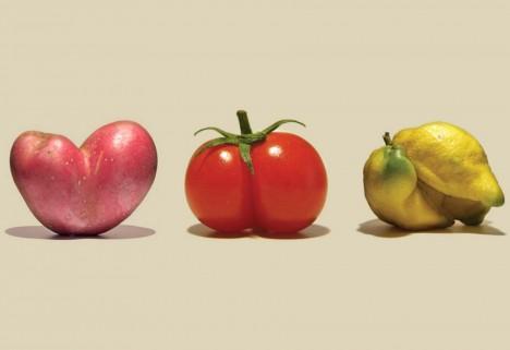 Imperfect Produce: Misshapen Potato, Tomato, and Lemon
