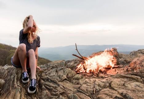 Girl at a bonfire
