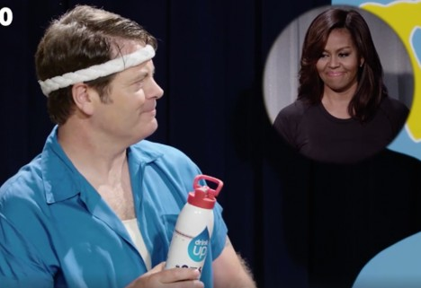 Nick Offerman Struggles Through 60 Years of Workout Trends for Your Enjoyment