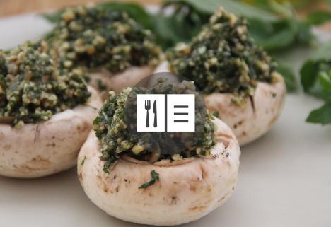 Vegan Pesto-Stuffed Mushrooms