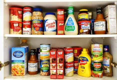 processed foods on a shelf