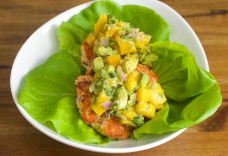 Salmon Burger With Mango Avocado Salsa