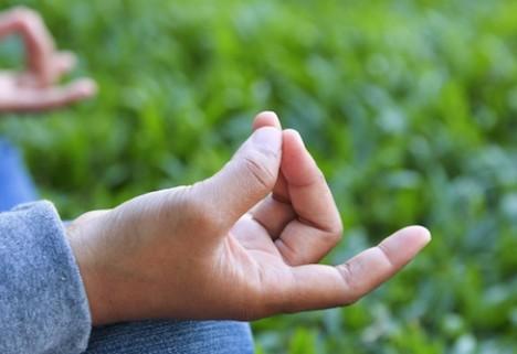 Meditating hand