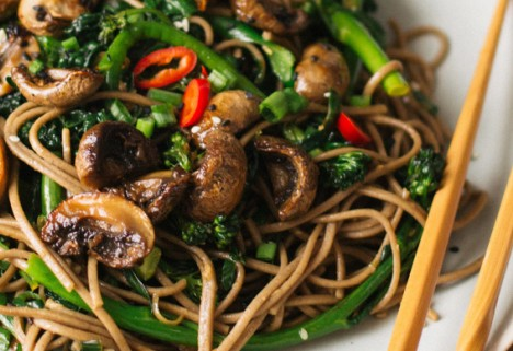 Soba noodles are way tastier (and more filling) than a protein shake