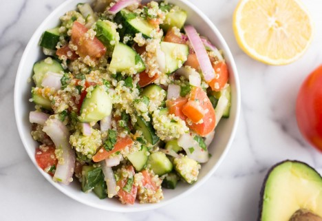 Quinoa Salads: Cucumber, Tomato, and Avocado