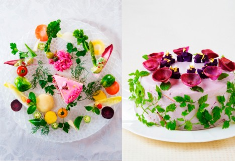 Healthy Food Art: Salad cakes from Japanese café