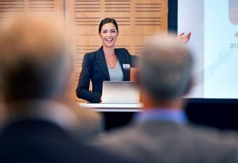 Woman Speaking in Public