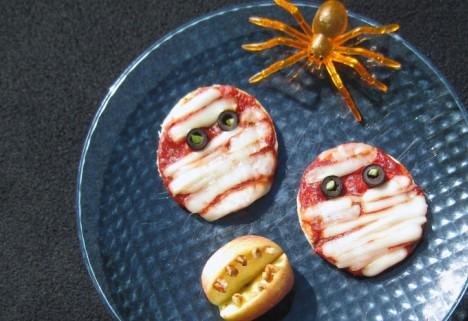 Mummified Pizzas for Halloween