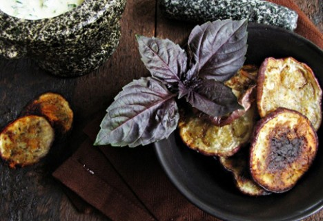 Eggplant Chips With Basil Yogurt Dip