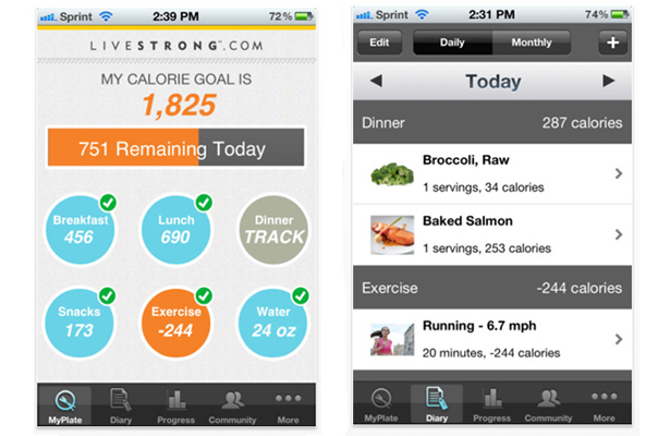 Livestrong MyPlate Calorie Tracker